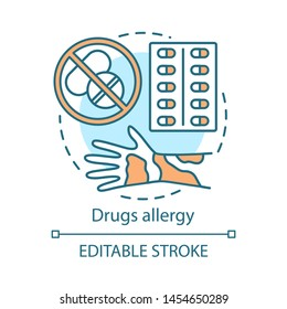 Drugs allergy concept icon. Allergic reaction to medications idea thin line illustration. Hives, itchy skin, rash on hand. Pills use side effects. Vector isolated outline drawing. Editable stroke