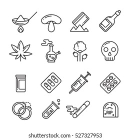 Drugs, heroin, alcohol, smoking addiction thin line vector icons.