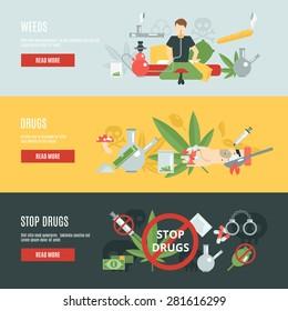 Drugs horizontal banner set with flat addiction elements isolated vector illustration