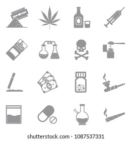 Drugs Icons. Gray Flat Design. Vector Illustration.