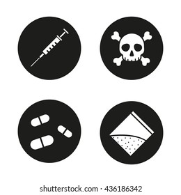 Drugs icons set. Syringe with needle, crossbones death and poison symbol, pills, narcotics packet. Vector white illustrations in black circles