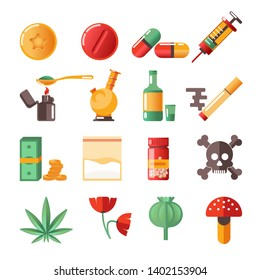 Drugs isolated icons marijuana and heroine cocaine and ecstasy