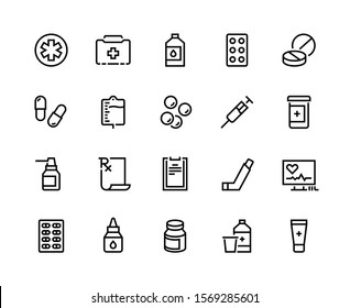 Drugs line icon. Medicine prescription, pharmacy recipes, pills capsules inhaler. Vector medical supplies for clinic and hospital, capsule and pill medication linear pictogram