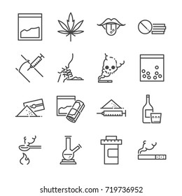 Drugs line icon set. Included the icons as junkie, cocaine, cannabis, tablets, addicted, illegal and more.