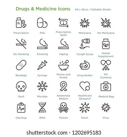 Drugs And Medicine Icons - Outline styled icons, designed to 48 x 48 pixel grid. Editable stroke.