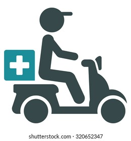 Drugs Motorbike Delivery vector icon. Style is bicolor flat symbol, soft blue colors, rounded angles, white background.