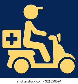 Drugs Motorbike Delivery vector icon. Style is flat symbol, yellow color, rounded angles, blue background.