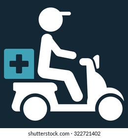 Drugs Motorbike Delivery vector icon. Style is bicolor flat symbol, blue and white colors, rounded angles, dark blue background.