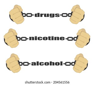 Drugs Nicotine Alcohol Signs Man Fists Stock Illustration 211281241