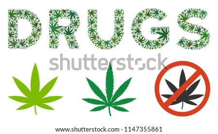 Drugs Text Mosaic Weed Leaves Various Stock Vector Royalty Free