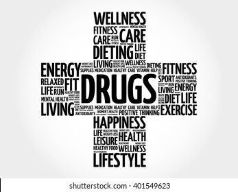 DRUGS word cloud, health cross concept background