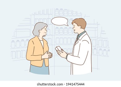 Drugstore assistant during work concept. Young smiling male pharmacist cartoon character woking with his client advising mature woman treatment vector illustration