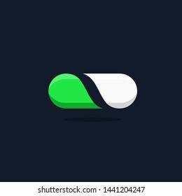 Drugstore Pharmacy Green and White Pill Vector Logo Icon.