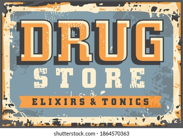 Drugstore retro old sign board template from 19th century. Drug store vintage advertisement vector style layout. Elixirs and tonics old promotional ad.