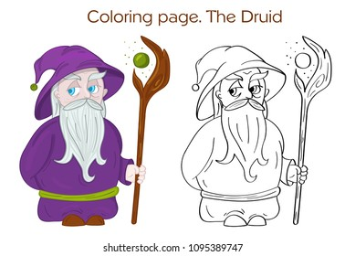 Druid Character with hat and magic staff. Outlined for coloring page.