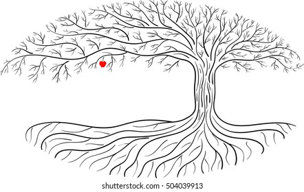 Druidic apple tree, oval silhouette, black and white logo with one red apple.