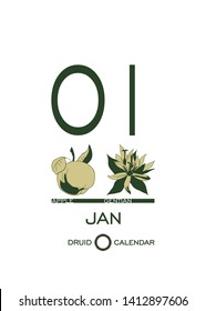 Druidic plant calendar. The day of January 1 corresponds to an apple tree and a gentian flower. Celtic astrological horoscope. Eco design for natural decor