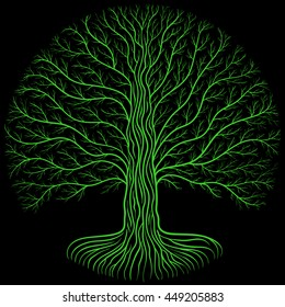 Druidic tree at night, round silhouette, black and green logo