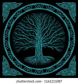 Druidic Yggdrasil tree at night, round silhouette, black and blue vector logo. Gothic ancient book style