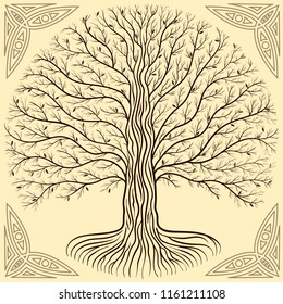 Druidic Yggdrasil tree at night, round silhouette, cream and brown vector logo. Gothic ancient book style