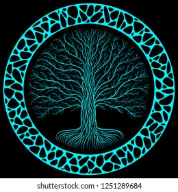 Druidic Yggdrasil tree at night, round silhouette, black and blue logo. Celtic ancient book style, organic or stone wall frame