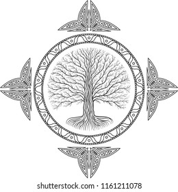 Druidic Yggdrasil tree, round black and white gothic logo. ancient book style.