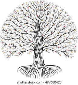Druidic Yggdrasil tree, round silhouette, black and white logo with red and yellow autumn leaves.