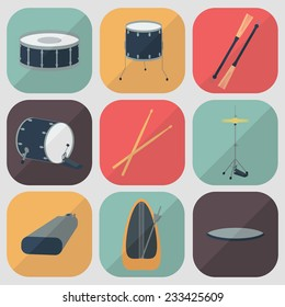 Drum flat icons. Flat design. Shadow. Vector illustration