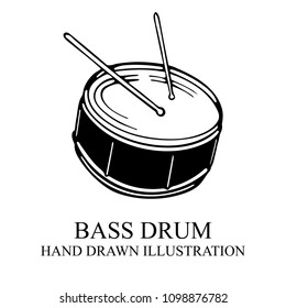 Drum. Hand drawn drum and drum sticks illustration. Drum icon sketch.