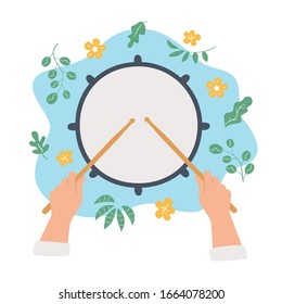 Drum and hands holding drumsticks. Top view. Vector concept in flat and cartoon style