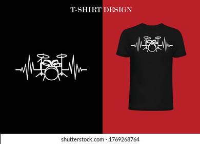 Drum Heartbeat t-shirt design. Funny Drum Heartbeat t-shirt.