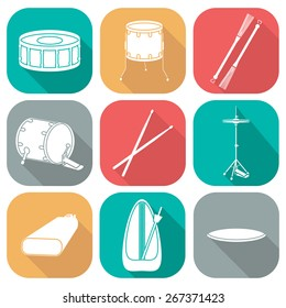 Drum icons 2. Silhouette. Flat design. vector illustration