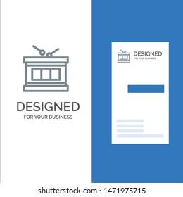 Drum, Instrument, Irish, Parade Grey Logo Design and Business Card Template
