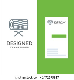 Drum, Instrument, Irish, Parade, St. Patrick Grey Logo Design and Business Card Template