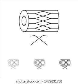 Drum, Instrument, Irish, Parade, St. Patrick Bold and thin black line icon set