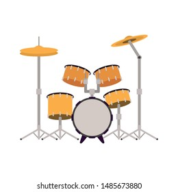drum kit musical instrument on white background
