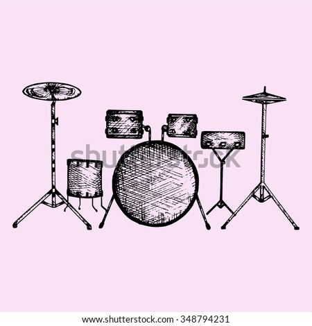 Drum Kit Set Doodle Style Sketch Stock Vector Royalty Free