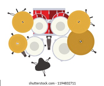 Drum kit top view flat vector illustration. Rock and blues drums set. Snare, toms, ride, crash, hi-hat, pedal, kick, cymbal.