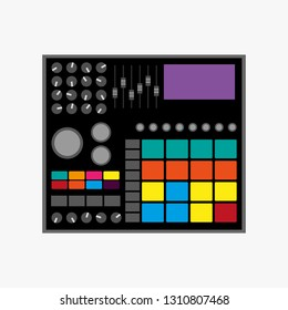 Drum machine. Isolated vector illustration. Flat icon, logo.