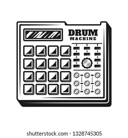 Drum machine music producer equipment vector illustration in vintage monochrome style isolated on white background