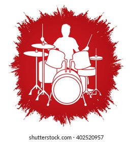 Drum player designed on grunge frame background graphic vector.