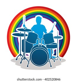 Drum player designed on line rainbows background graphic vector.
