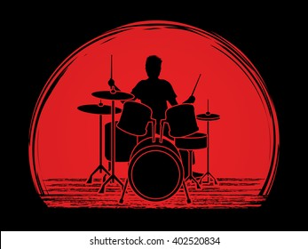 Drum player designed on sunset light background graphic vector.