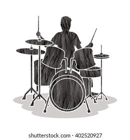 Drum player designed using black grunge brush graphic vector.