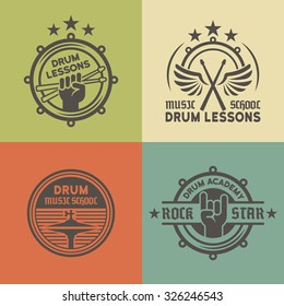Drum school or academy, drum lessons set of vector vintage colored labels, badges, emblems