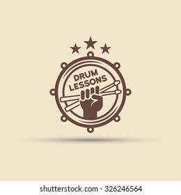 Drum school isolated vector round label, badge, emblem, fist hand with drumsticks