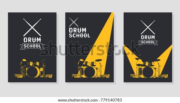 Drum School Poster Concepts Crossed Drumsticks Stock Vector