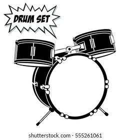 Drum set with basic 3 pcs. Vector black and white illustration.