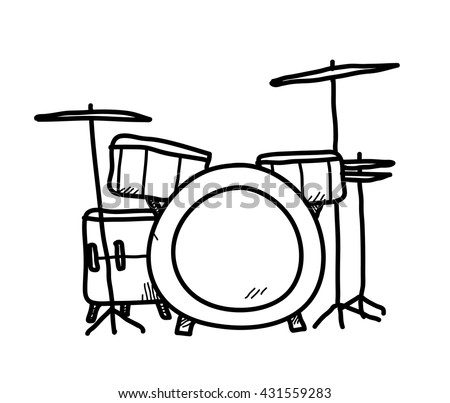 Drum Set Doodle Hand Drawn Vector Stock Vector Royalty Free