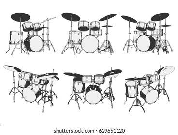 drum set. drum kit. drums. vector illustration.